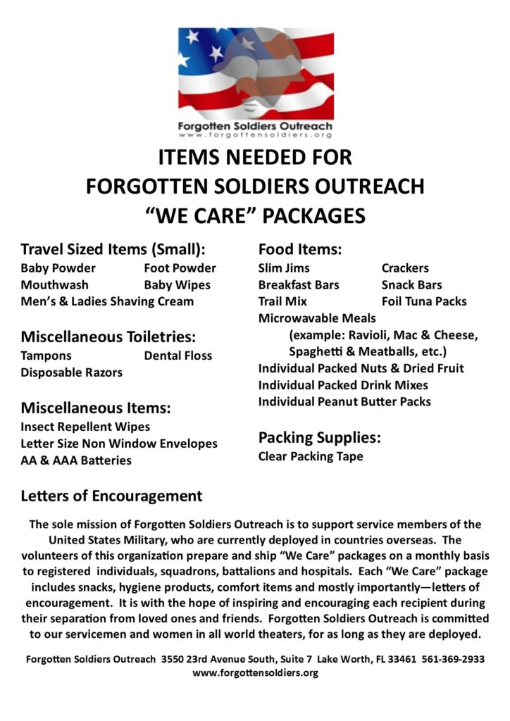 list of needed items 060116